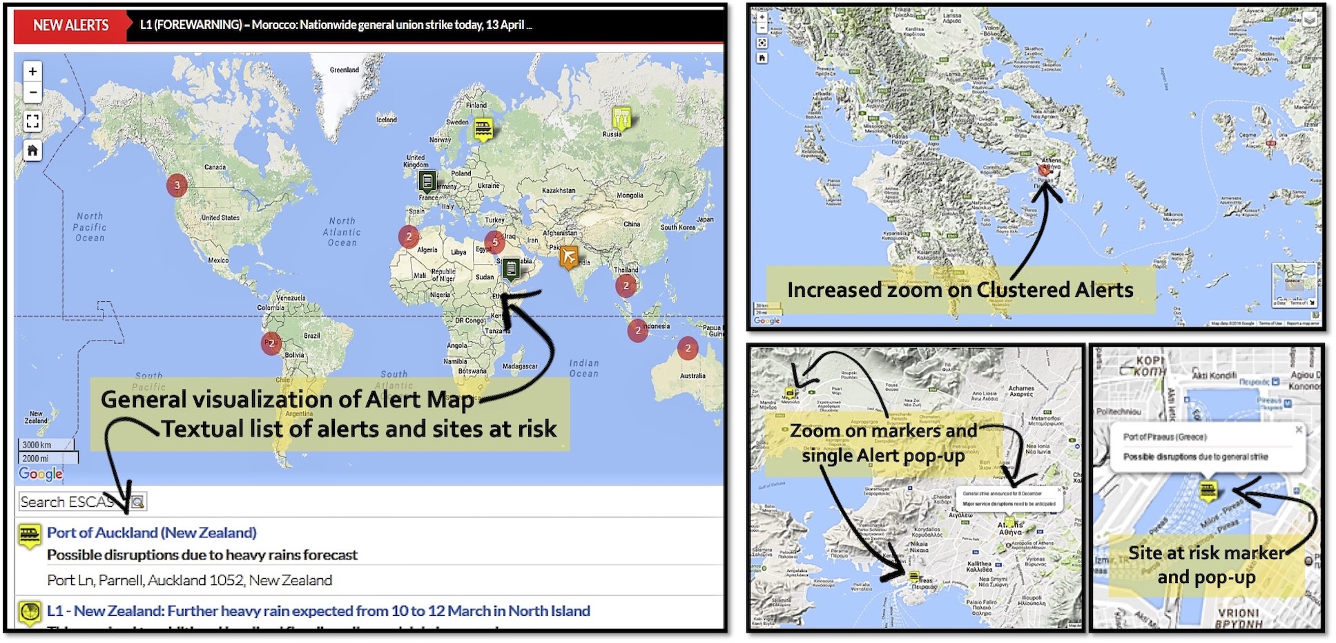 ESCAS Alerts Map screenshots
